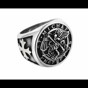 St. Michael Protect Us men's ring size 9 new